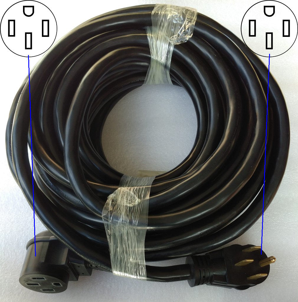 Heavy-duty NEMA 14-50R extension cord for RVs, EVs, etc., 50 ft.