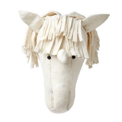 Cream Unicorn Head Wall Decor Handmade-Ten Octaves