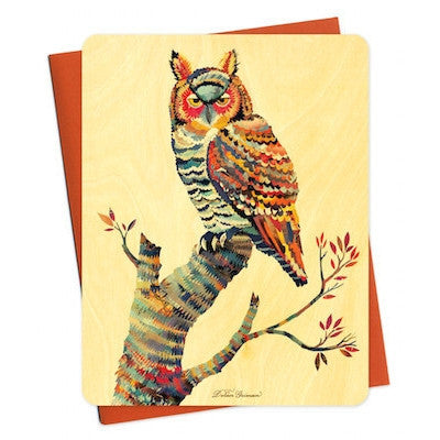 Dolan Owl Wood Greeting Card-Greeting Card-Ten Octaves