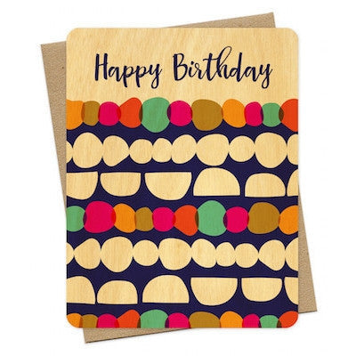 """Happy Birthday"" Pebbles Wood Greeting Card-Greeting Card-Ten Octaves"