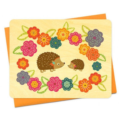 Hazel Hedgehog Wood Greeting Card-Greeting Card-Ten Octaves