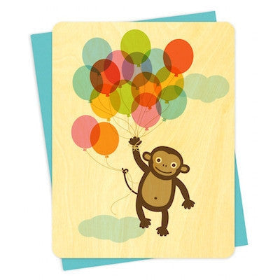 Monkey Balloon Wood Greeting Card-Greeting Card-Ten Octaves