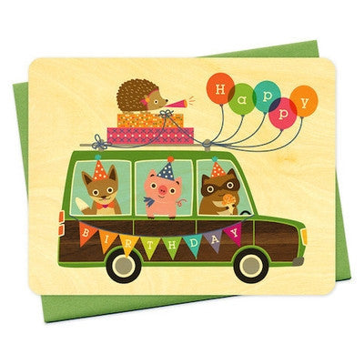 Party Wagon Wood Greeting Card-Greeting Card-Ten Octaves