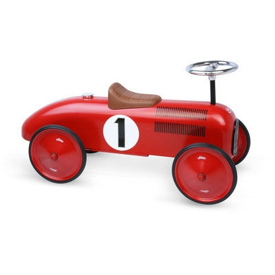 Red Metal Racing Car-Ride-On-Ten Octaves