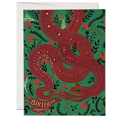 Red Snake Greeting Card-Greeting Card-Ten Octaves