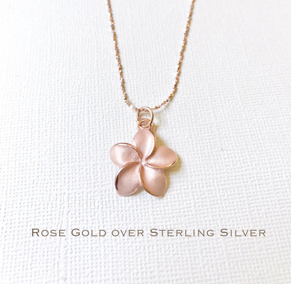Sale Rose Gold over Sterling Silver plumeria necklace Plumeria