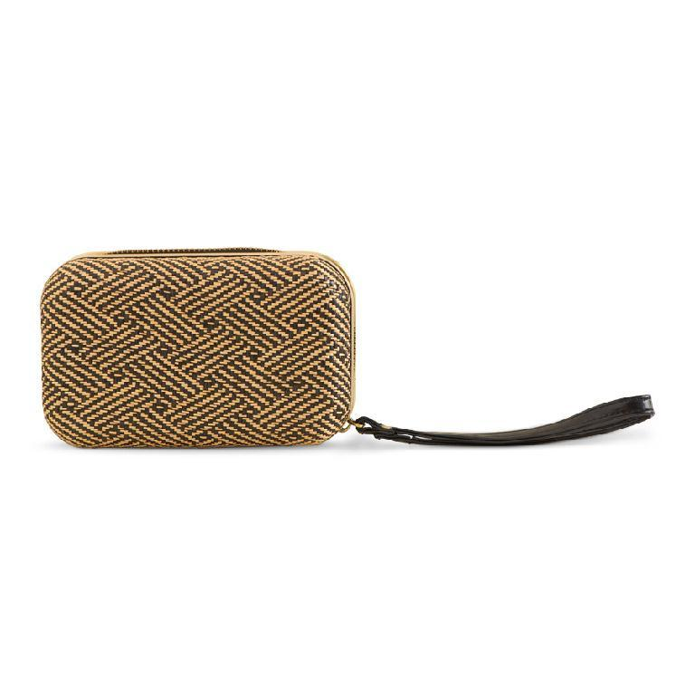 Gold Tan Basket Weave Zippered Wrist Clutch