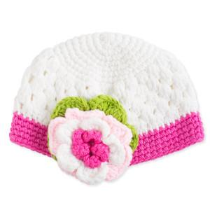 Pink Flower Crocheted Hat for Baby