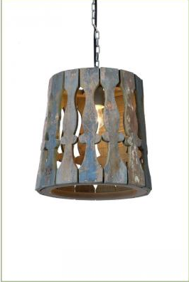 Salvaged Wood Slat Pendant Light