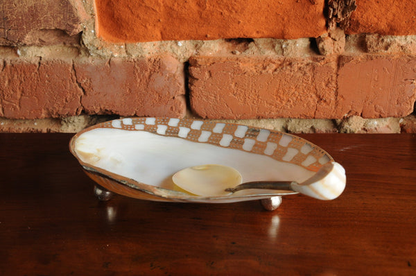 Shell-footed Dish with Spoon