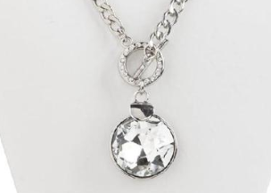Silver Round Crystal Toggle Necklace and Earring Set