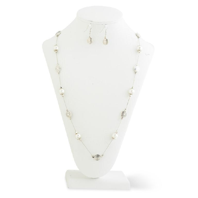 Silver and Pearl Necklace and Earring Set