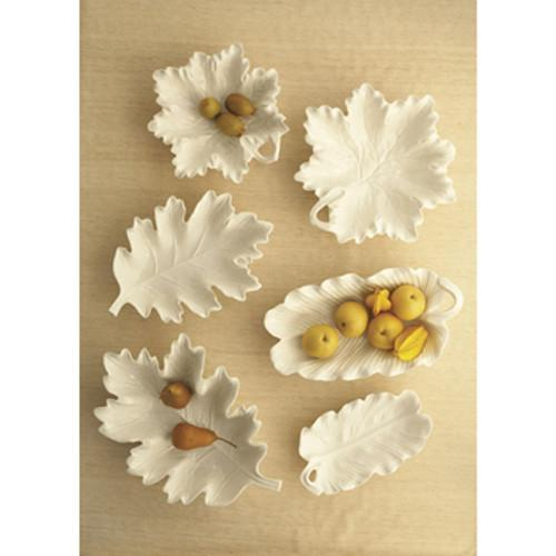 White Leaf Serving Dishes