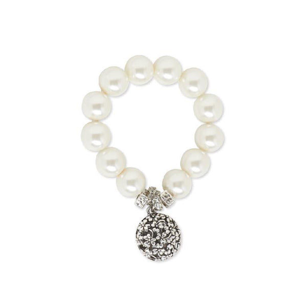 White Pearl Stretch Bracelet with Antique Silver Drop