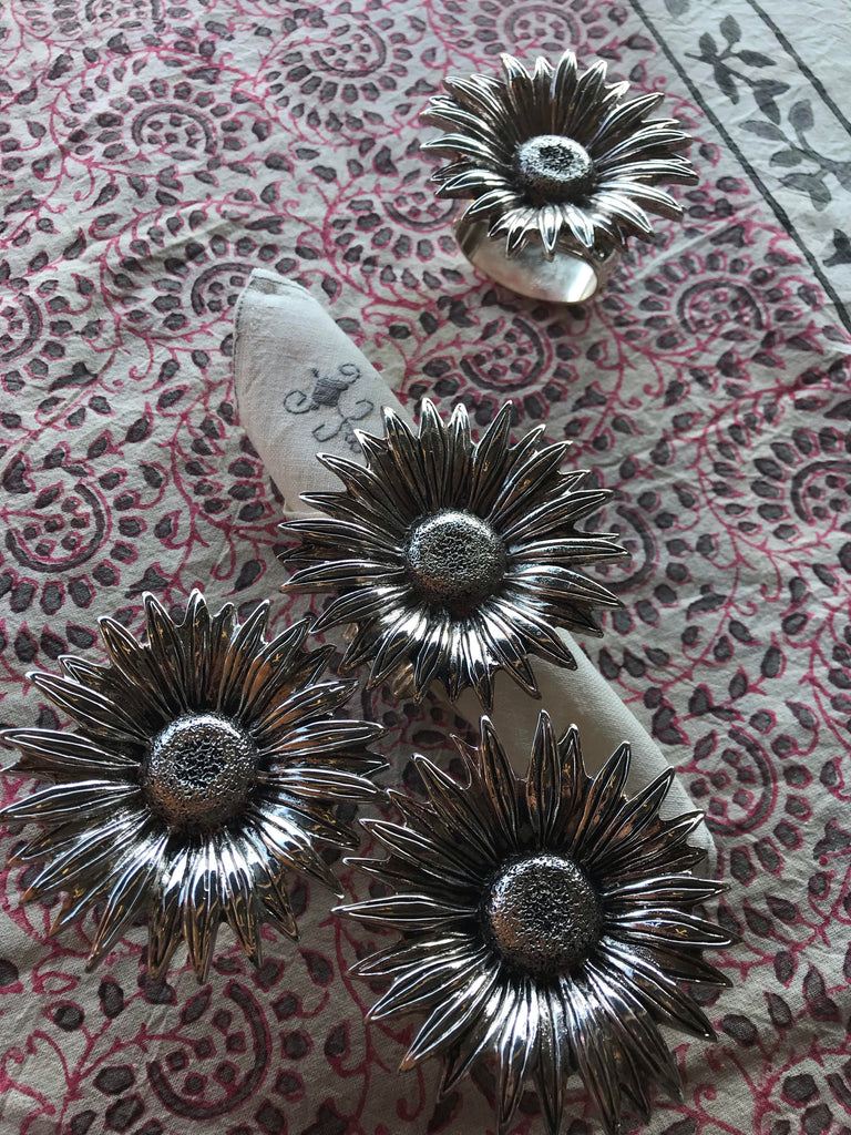 Set of Silver Sunflower Napkin Ring Holders