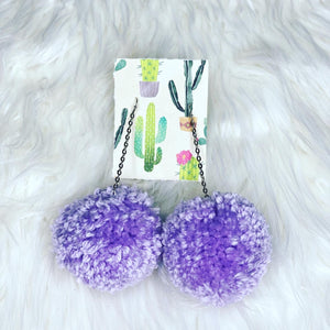 Lilac Pom Pom Earrings