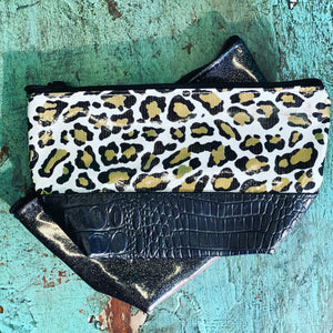 Black Glittery & Leopard Make up Bag