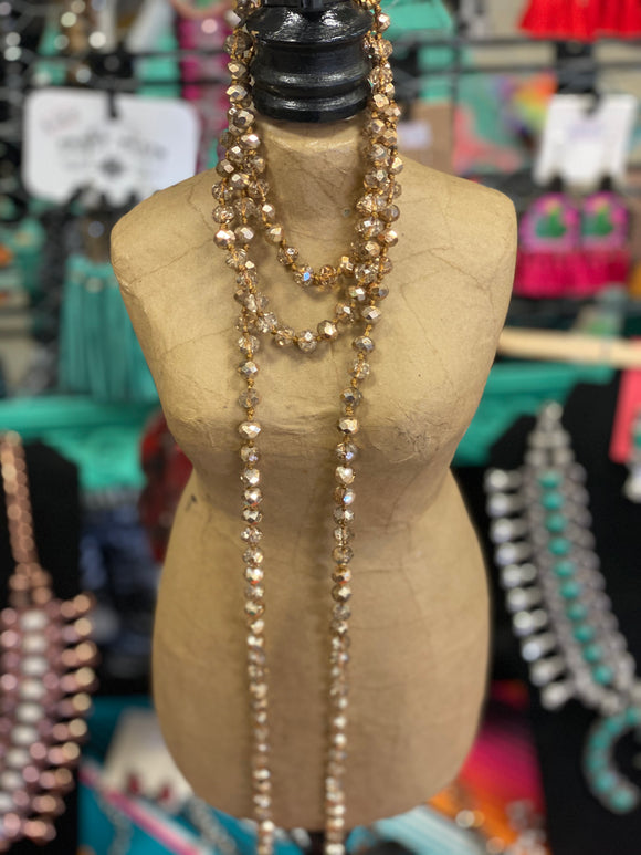 Bronzed Tan Beaded Necklaces