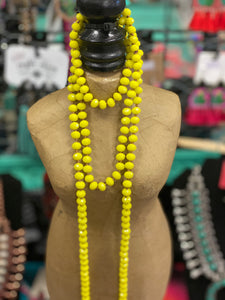 Yellow Crystal Beaded Necklaces