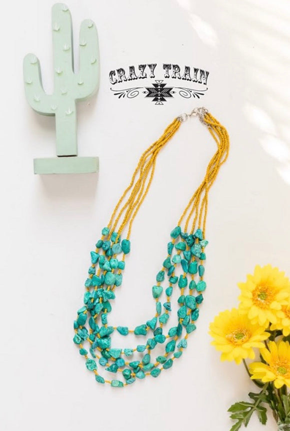 THE RIVER STONE NECKLACE ** MUSTARD
