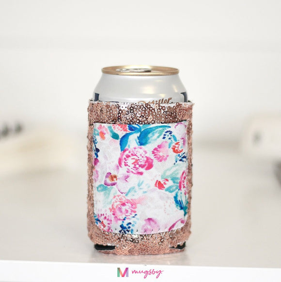 Floral Rose Gold Sequin Can Coolie