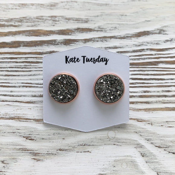 Charcoal Sparkle Druzy Earrings