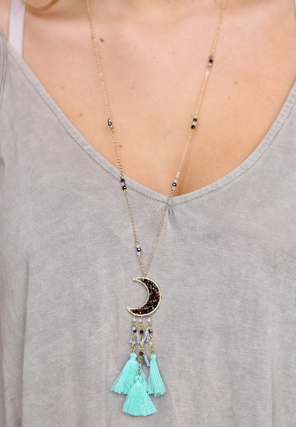 Crescent Moon Mint Tassel Necklace