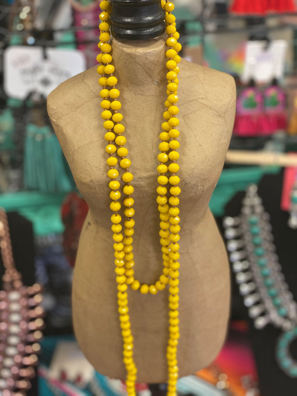 Mustard Beaded Necklaces