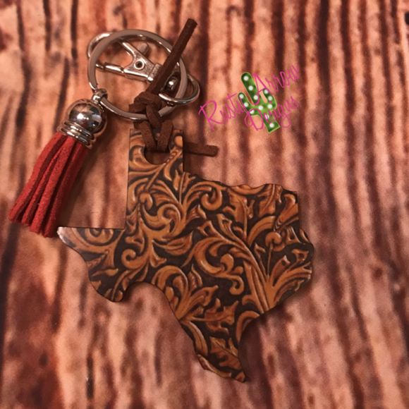 Texas Key Chain *Tooled Leather*