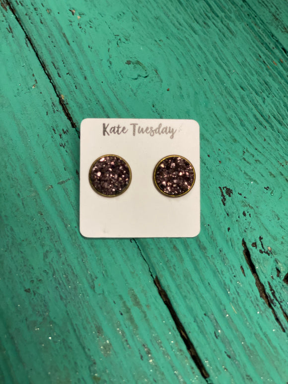 Dark Purple Glitter Studs