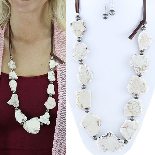 White Ivory Slab Necklace & Earrings