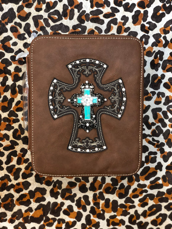 Turquoise Cross Bible Cover