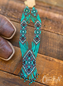 Cheyenne Beaded Necklace in Turquoise!