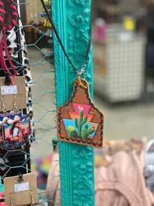 Colorful Cactus EarTag Necklace
