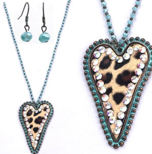Turquoise Cheetah & Rhinestone Necklace