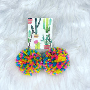 Summer Breeze Pom Pom Earrings