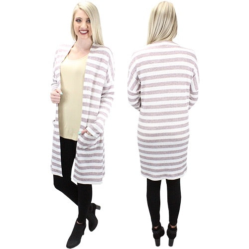 Striped Cardigan *White & Mauve*