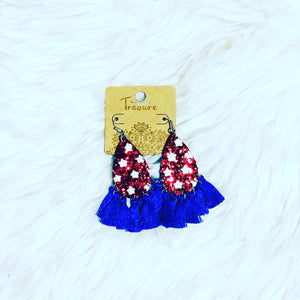USA Fringe Earrings *Red*