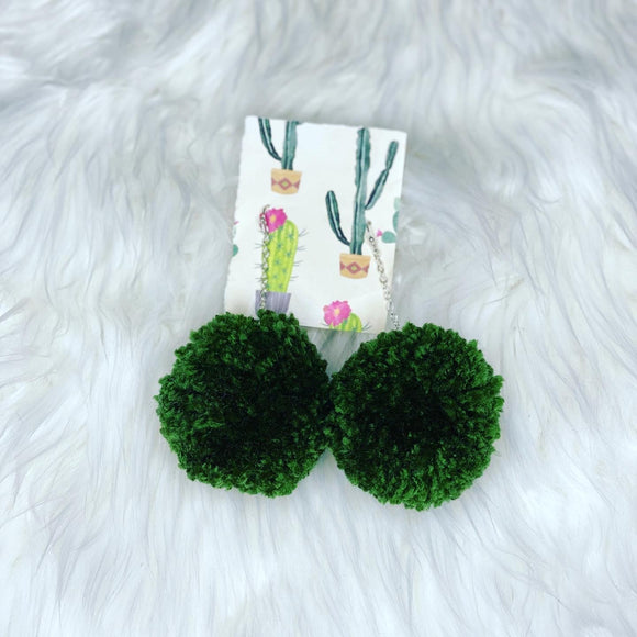 Olive Pom Pom Earrings