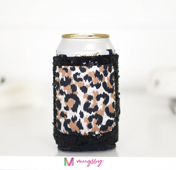 Leopard Print Black Sequin Can Coolie