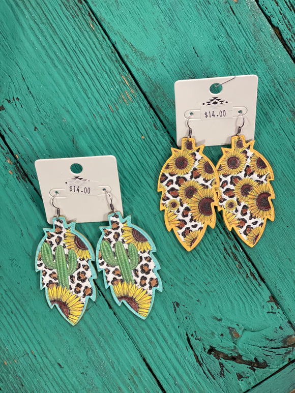 Leather Sunflower Earrings