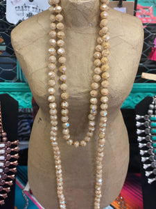 Tan Crystal Beaded Necklace