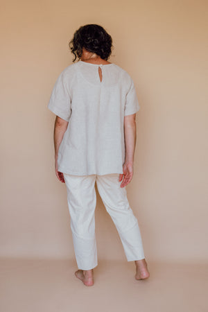 Collins top Kit - Pinstripe linen
