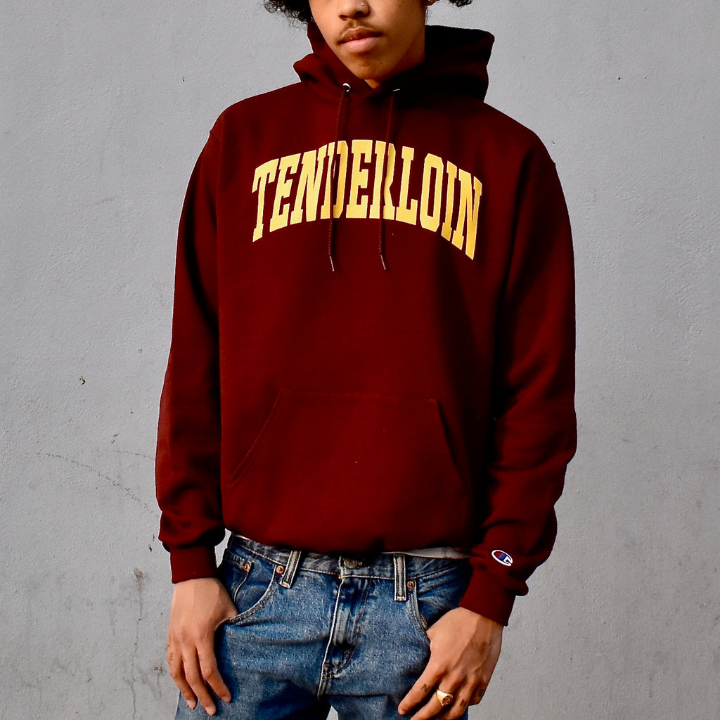 TENDERLOIN Champion arch hooded sweatshirt -- burgundy
