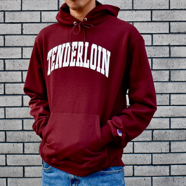 TENDERLOIN Champion arch hooded sweatshirt -- burgundy/white