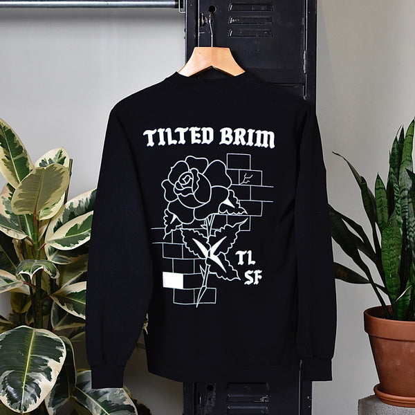 Tilted Brim Rose and Bricks Long Sleeve T-Shirt -- black