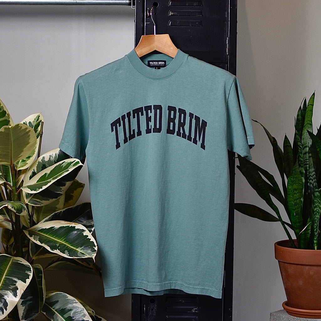 Tilted Brim Arch Premium Crewneck T-Shirt -- worker green