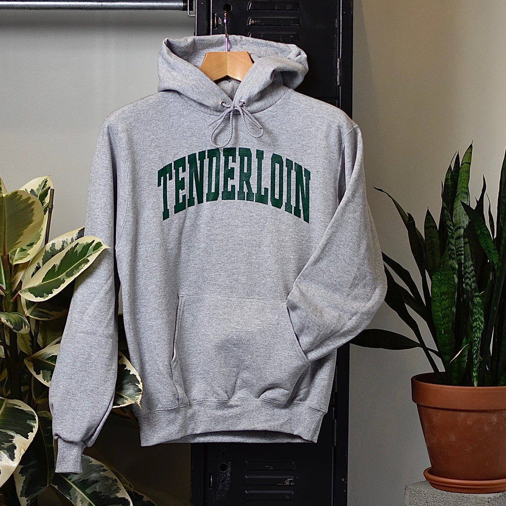 TENDERLOIN Champion arch hooded sweatshirt -- grey
