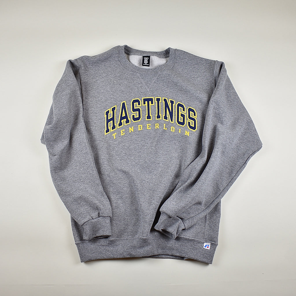 Tilted Brim for UC Hastings crewneck sweatshirt -- grey