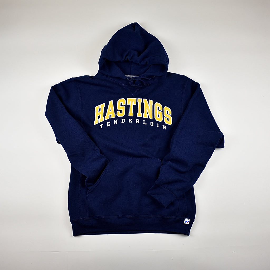 Tilted Brim for UC Hastings hooded sweatshirt -- navy
